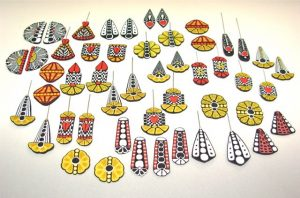 Red,Yellow,Black & White Earrings